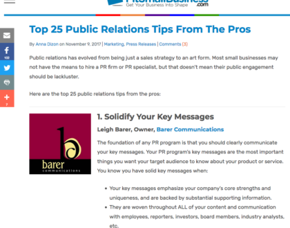 Top 25 Public Relations Tips From The Pros